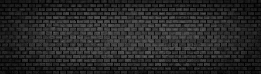 black brick wall, wide panoramic stone surface texture, dark background