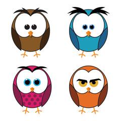 Set of four owls isolated on white background. Flat icons