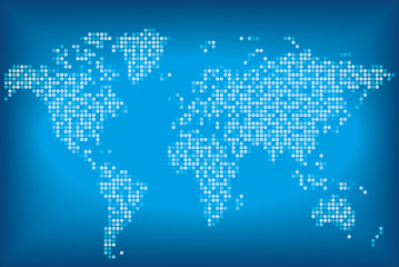 Карта мира синего цвета из круглых точек. Векторная иллюстрация.