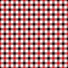 Seamless geometric interwoven red, black and white check pattern