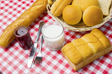 Milk with breads and jam