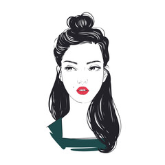 Portrait of young beautiful woman with trendy beam hairstyle. Vector hand drawn illustration.