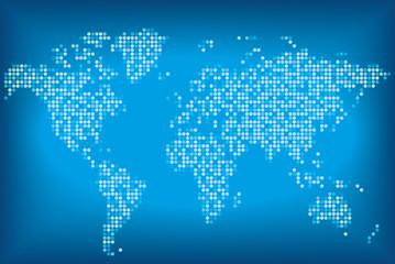 Карта мира синего цвета, состоящая из круглых точек.