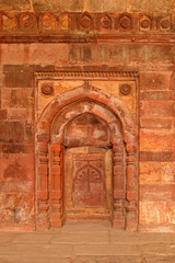 Intricate detail of the Ali Isa Khan tomb at the Humayuns tomb complex in Delhi, India.