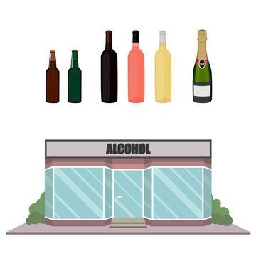 Alcohol bottles and shop facade