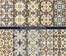 Ten seamless patterns in Oriental style. Eastern ornaments for design fabric, wrapping paper or scrapbooking. Vector illustration in brown colors.
