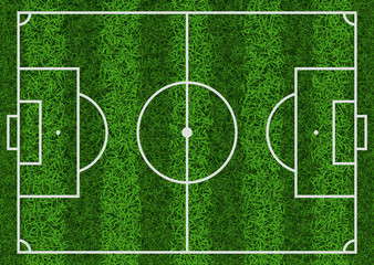 Top view of textured green grass striped soccer field, vector illustration.