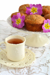 Banana muffins with tea