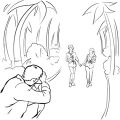 Photographer Taking Photo Of Romantic Couple Walking In Tropical Park Sketch Vector Illustration