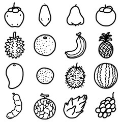 tropical fruits, icons set / cartoon vector and illustration, hand drawn style, black and white, isolated on white background.