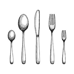 Fork and spoon with a knife drawing. Cutlery vector