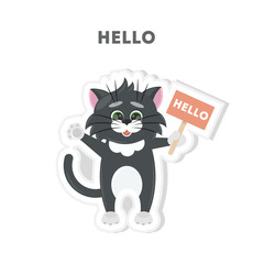 Cat says hello. Isolated cute sticker on white background.