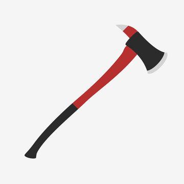 Red fireman axe.