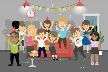 Party at home. Young people have fun and drink a lot.