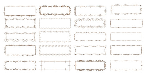 Vintage floral frames. Elements for decoration on white background.