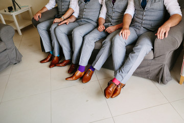 Shoes groom and his friends at the wedding.