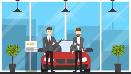 Automobile showroom interior. Car, salesman and visitor