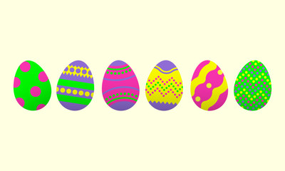 Easter eggs icon set. Happy Easter design elements. Colorful eggs for Easter celebration. Vector illustration.