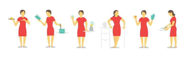 A woman set of different poses preparation food by prescription. Dishes and saucepan. Red dress, beautiful slender girl