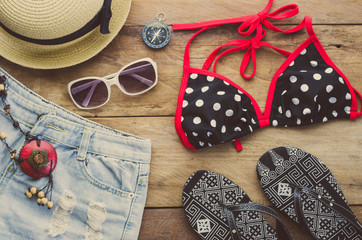Accessories costume with travel for summer on wooden floor