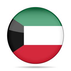 Flag of Kuwait. Shiny round button.