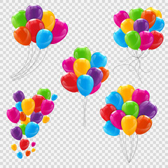 Set, Bunches and Groups of Color Glossy Helium Balloons Isolated