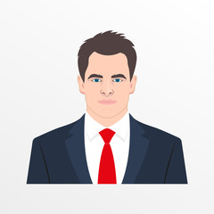 Male avatar with realistic face. Man in the suit, shirt and necktie. Businessman head and shoulder icon. Vector illustration.