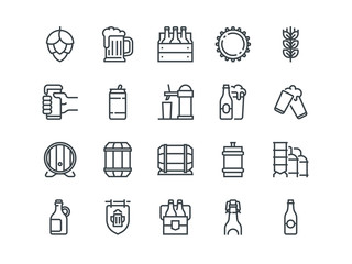 Beer. Set of outline vector icons. Includes such as Bottle, Barrel, Cup, Can and other. Editable Stroke. 48x48 Pixel Perfect.