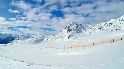 Wall Mural - People skiing in famous ski resort in Tyrolian Alps, Zillertal, Austria