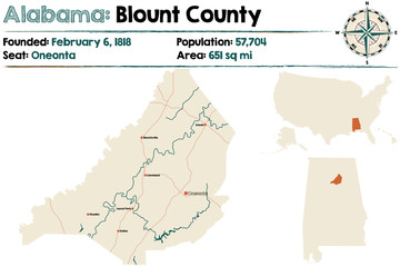 Large and detailed map of Blount County in Alabama.