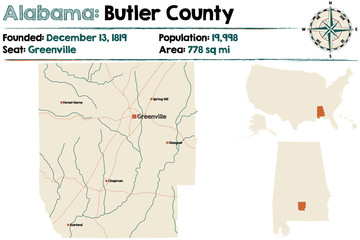 Large and detailed map of Butler County in Alabama.