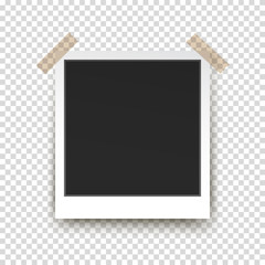 Retro polaroid photo frame with shadow on transparent background