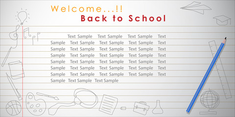Welcome back to school Vector Background. Vector and Illustration, EPS 10.