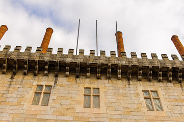 Chimney at the Duke of Braganza's Palace of Historic Centre of Guimaraes, Portugal. UNESCO World Heritage