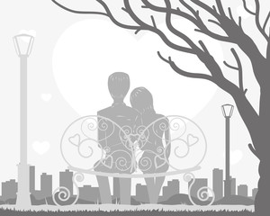A couple is sitting on a bench in a tree. Vector illustration