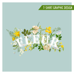 Summer and Spring Field Flowers Graphic Design for T shirt, Fashion, Prints in Vector