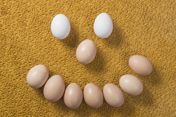 A few eggs on a bright background