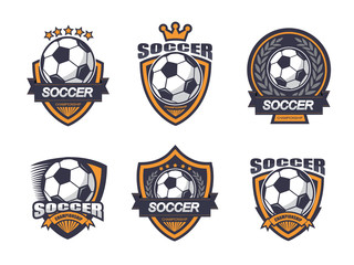 Illustration of soccer logo set