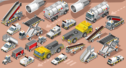 Isometric airport shuttle terminal airfield vehicle freight car van truck. 3D icon set isometric isolated white service car and luggage transfer infographic vector illustration