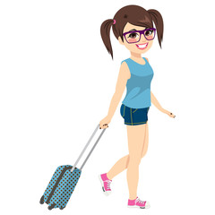 Cute young nerd girl on vacation travel with suitcase