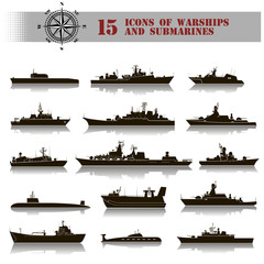 15 icons of warships and submarines