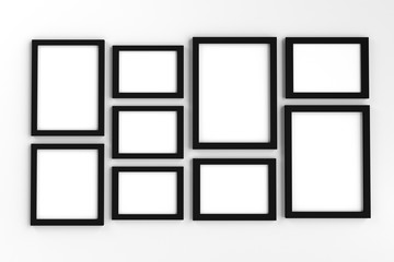 Realistic group of blank black picture frame templates set on white background, 3D render