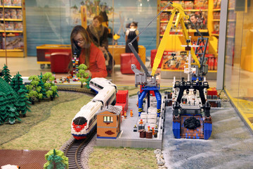Beautiful models assembled from a Lego designer in the Lego department of the Central Children's Store.