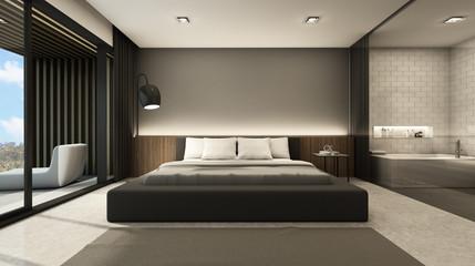 Bedroom beach villa bathroom clear glass background take view sea -3D render