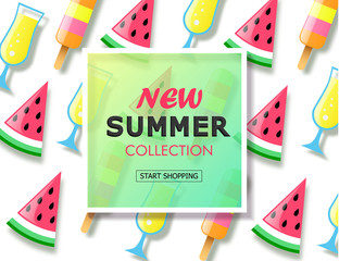 New summer collection sale background with colorful ice cream, slice watermelon and cocktail. Vector illustration template, banners. Wallpaper, flyers, invitation, posters, brochure.