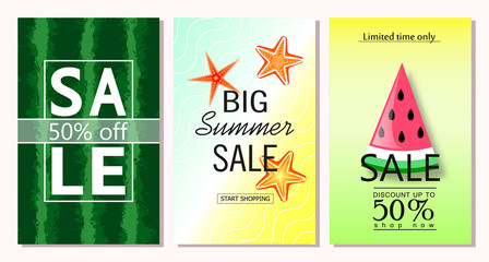Set of summer sale banner templates. Vector illustrations for website and mobile website banners, posters, email and newsletter designs, ads, coupons, promotional material.