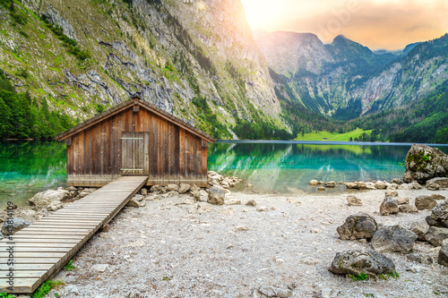 Wall mural Boat dock on Obersee alpine lake, Berchtesgaden, Bavaria, Germany, Europe