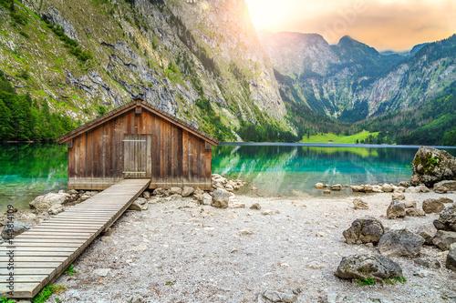 Fototapete Boat dock on Obersee alpine lake, Berchtesgaden, Bavaria, Germany, Europe