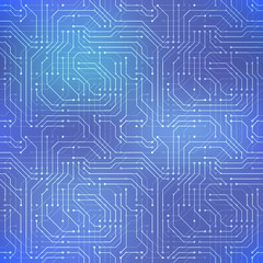 Computer microchip, seamless pattern on abstract blue background