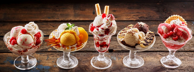 Row of gourmet ice-cream desserts